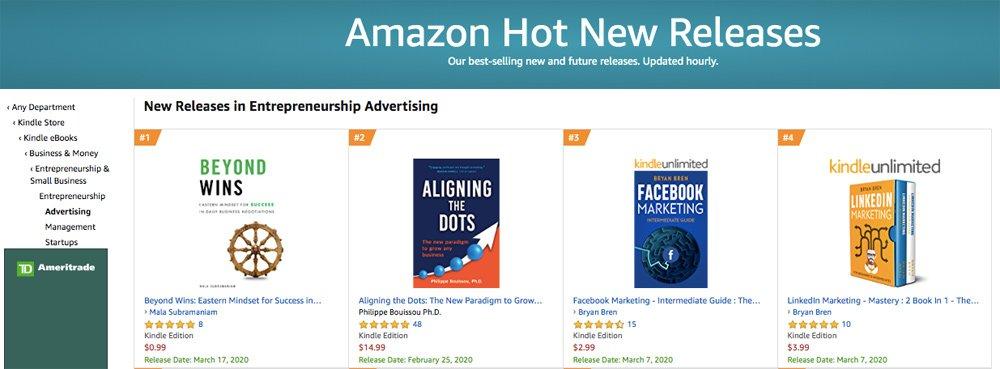 Amazon New Release in Entrepreneurship Advertising
